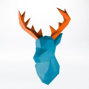 Papertrophy Hirsch Papier Wandtrophäe blau orange seitlich