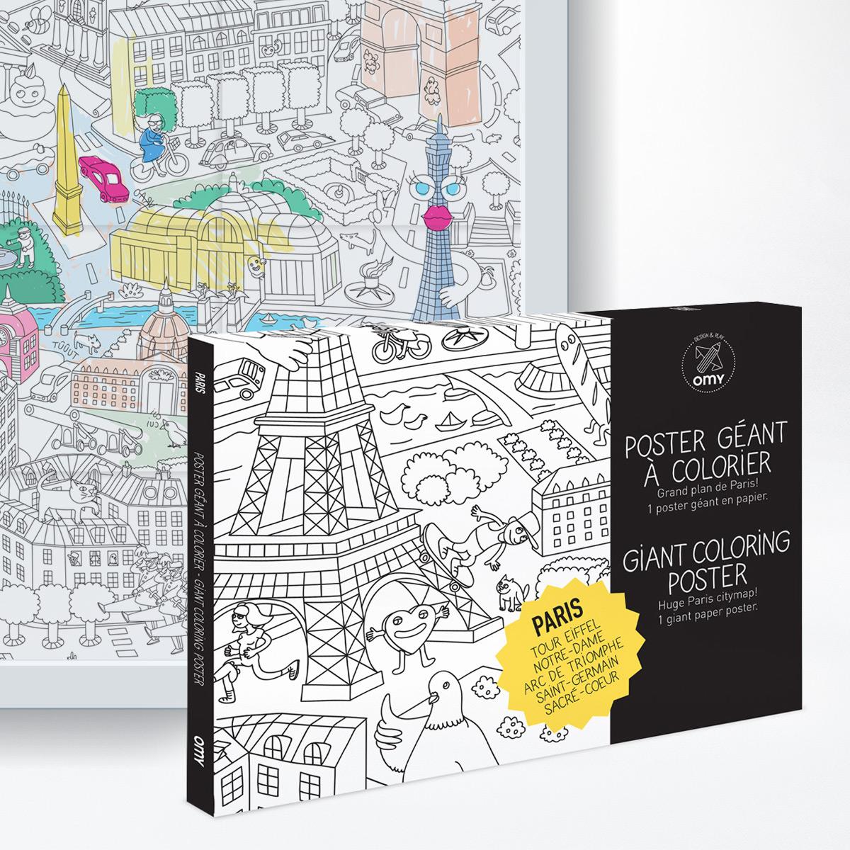Ausmalposter Paris - auch für Erwachsene
